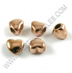 Bille coeur 11x8mm, Inox Or...