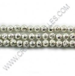 Lava beads Silver 06mm -...