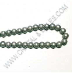 Perle verre Gris-vert...