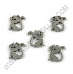 Charm cat 14x12mm, SS 304 -...