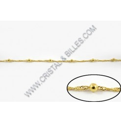 Chaine twist + billes 4mm, Or