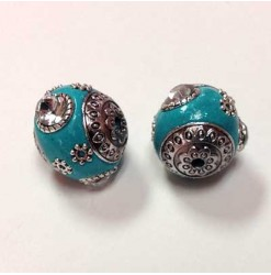 Bead Indonesia 18mm, Turquoise