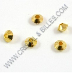 "Bille metal ""Bicone"" 04mm, Or"