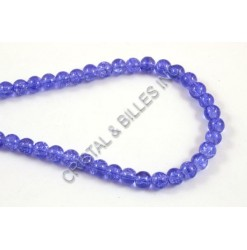 Glass bead 06mm Crackle, Blue