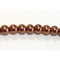 Glass pearl 06mm, Copper