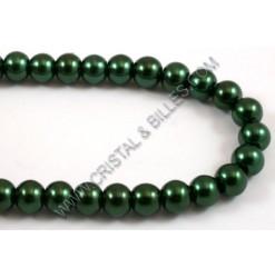 Glass pearl 06mm, Dark green