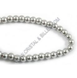 Perle verre 06mm, Argent