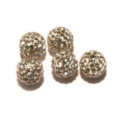 Billes shamballa 10mm cristal