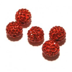 Billes shamballa 10mm rouge