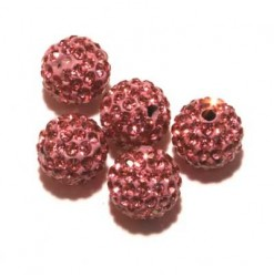 Billes shamballa 10mm rose