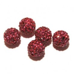 Billes shamballa 10mm fuschia