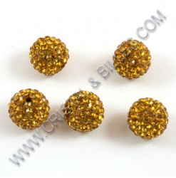 Billes shamballa 10mm Or