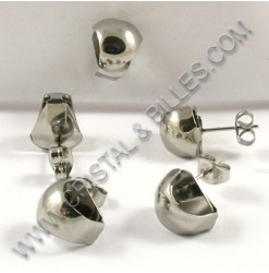 Earring stud 10x12mm with...