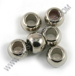 Billes acrylique 7x5mm, Nickel