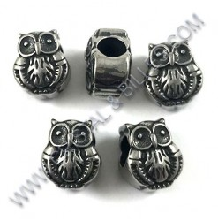 Bead owl 10x11mm, Stainless...
